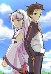 Emilia and Subaru by Teruchan