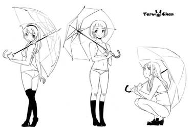 wip Poses with Umbrella by Teruchan