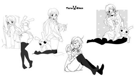 pose sketch-my oc Shytsuko and Teru-usagi by Teruchan