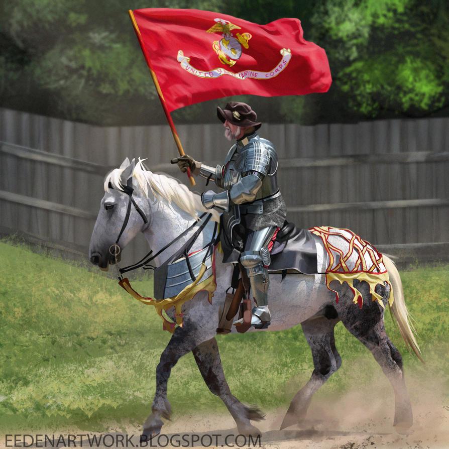 Knight On Horse Back by Eedenartwork