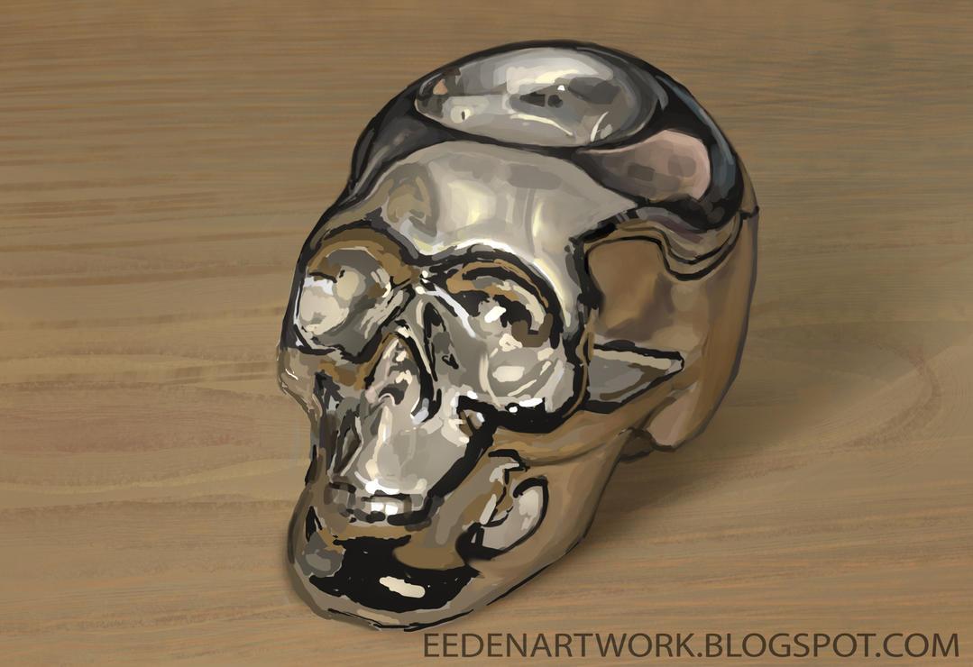Chrome-skull still-life by Eedenartwork
