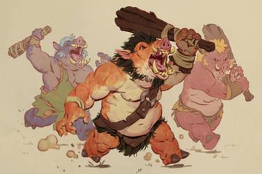 Attack of the Hogs by Eedenartwork