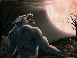 Werewolf and moon by Feael