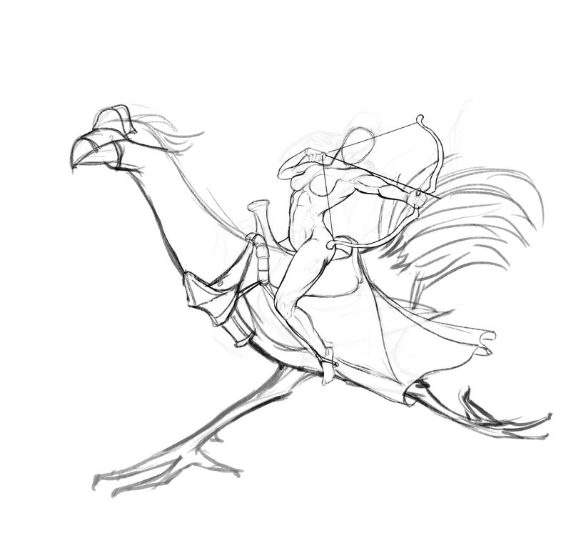 Archer on Chocobo by Feael