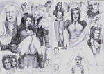 Aeris, Sephiroth and Zack Doodles A5