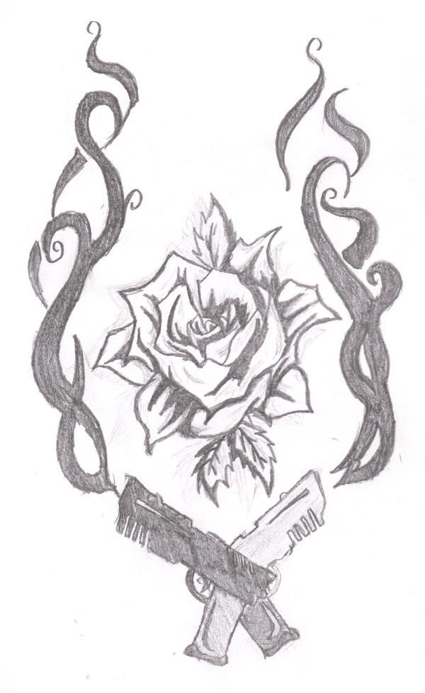 Gun And Rose Drawings