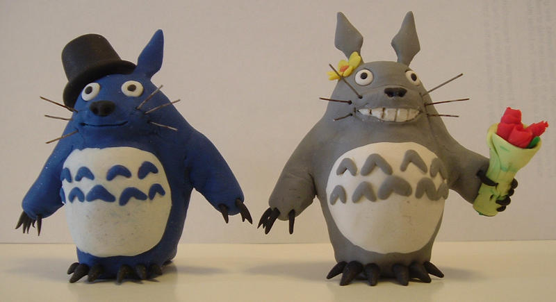 Totoro Wedding Cake Toppers by hwango