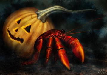 Hermit Crab in Pumpkin by hwango