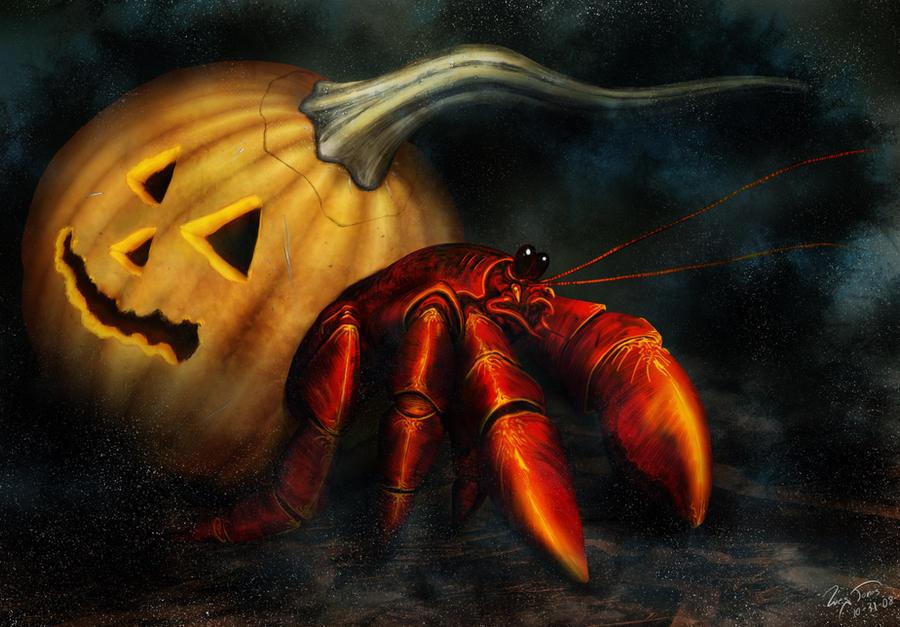 Hermit Crab in Pumpkin