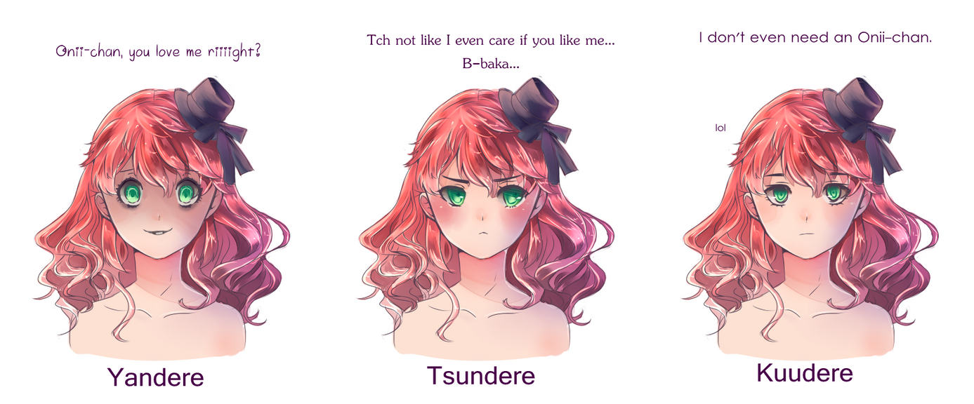 yandere__tsundere_and_kuudere_by_mintorin d6e1uby yandere, tsundere and kuudere by luumies on deviantart