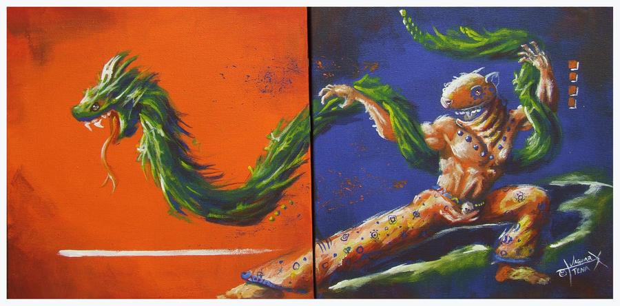 El quetzalcoatl y el guerrero jaguar by jaguar x on deviantart for Mural quetzalcoatl