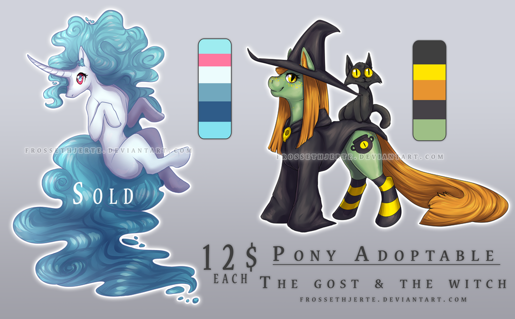 [SECOND OPEN!!!] MLP ADOPTABLES | Ghost and Witch by FrossetHjerte