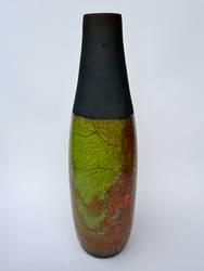 Lime raku bottle by lifegreek