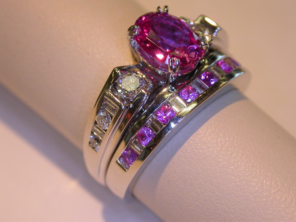 Pink sapphire wedding set by amberdreams on deviantart for Sapphire wedding ring sets