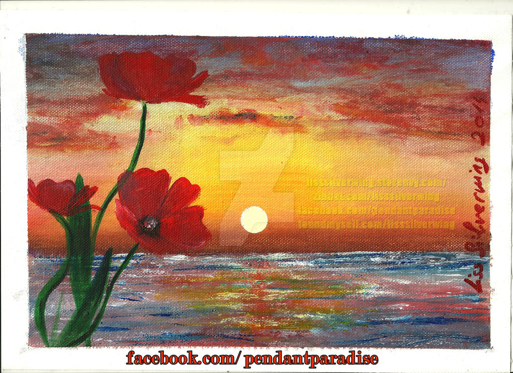 Sea And Poppies - painting on canvas by liss-silverwing