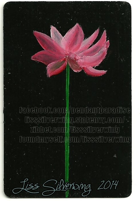 pink flower -original miniature painting by liss-silverwing