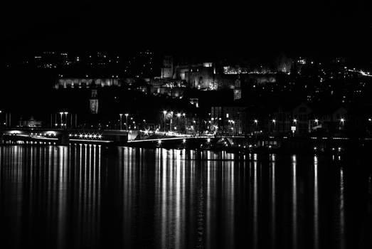 Heidelberg castle in black and white