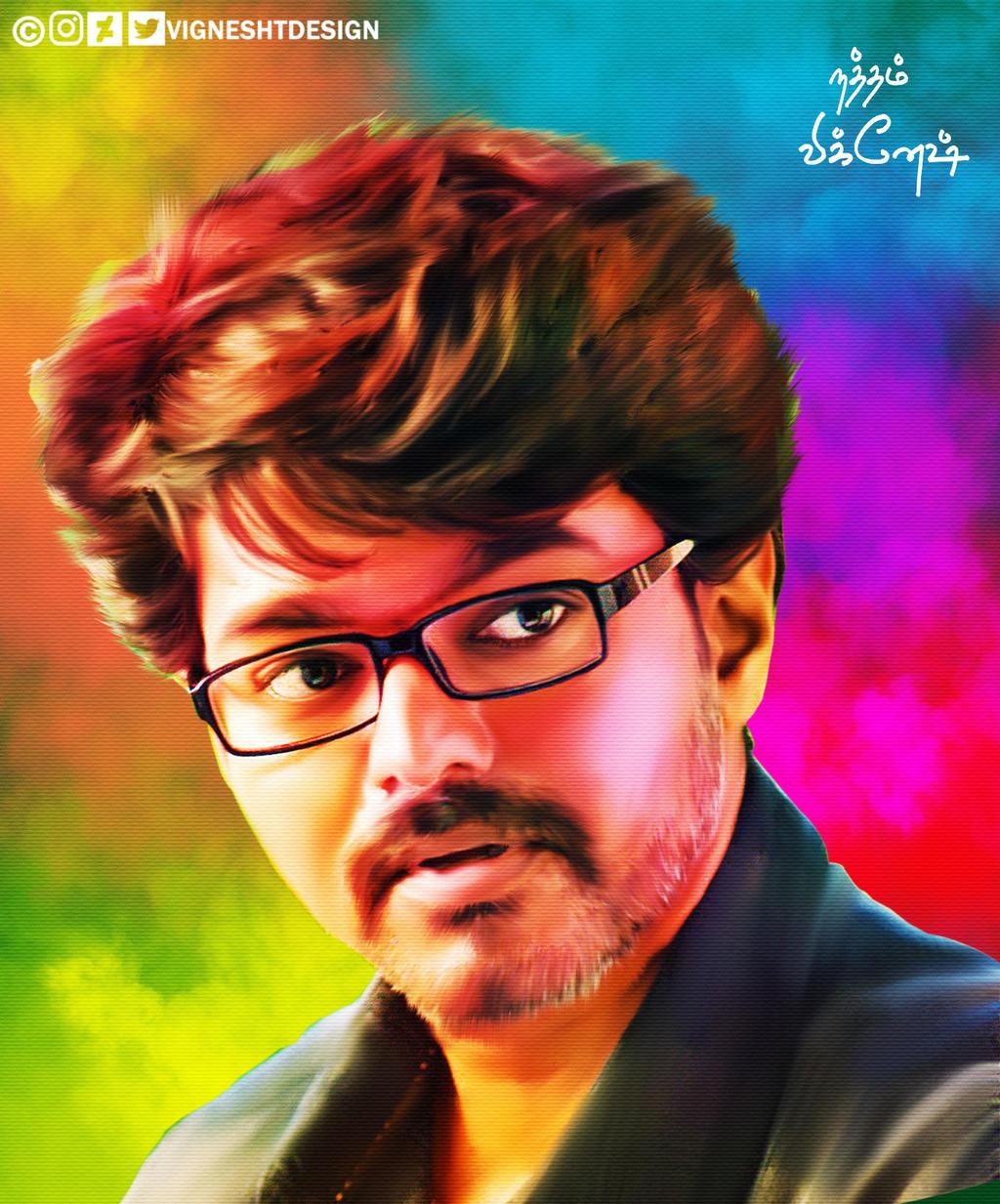 Hd wallpaper vijay -  Theri Vijay Painting Hd Image By Vigneshtdesign