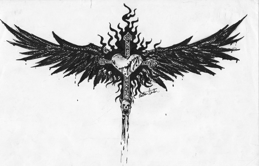 Winged Heart Cross Tattoo by NDC13 on DeviantArt