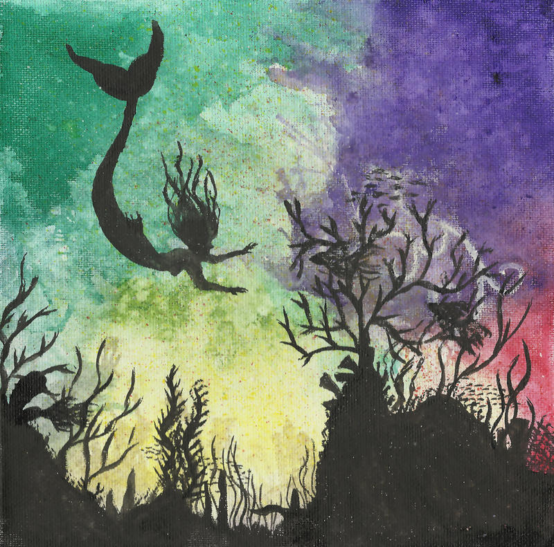 Coral Reef II w/ Mermaid - Original Watercolor by Izile on ...