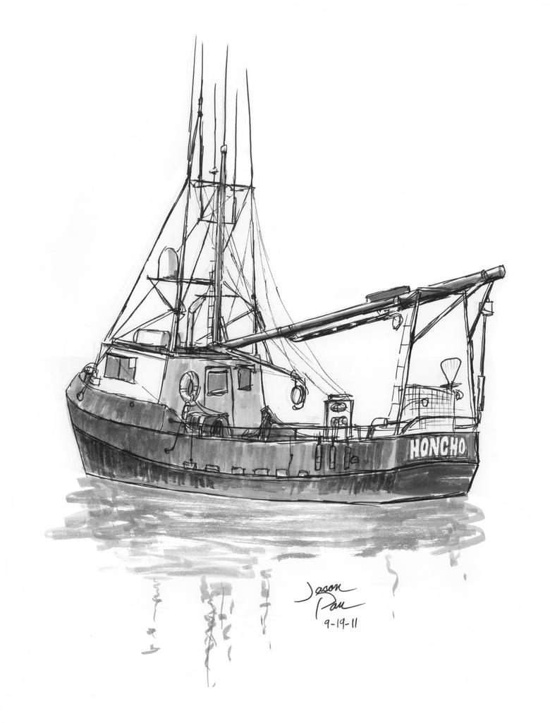 Sport fishing boat drawing
