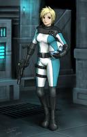 Anime Girl Sci-Fi Starfighter Pilot with Gun by jdp89