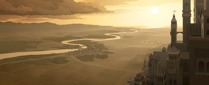 Fantasy Landscape (Adobe Illustrator Vector)