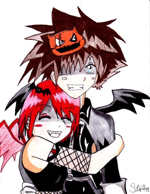 Halloween Sora and Kairi by Gerardwayobsessed