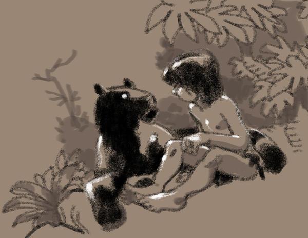 Mowgli and Bagheera by arielpadilla
