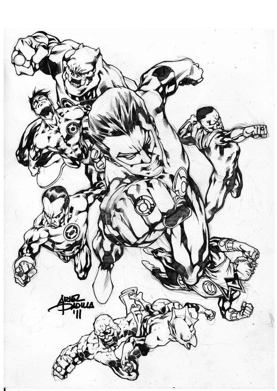 Beautiful Green Lantern Corps By Truck Coloring Pages With