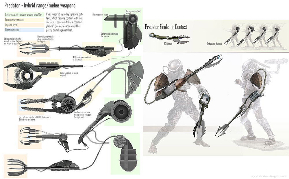 Predator Weapon design thumbnails by Zirngibl on DeviantArt