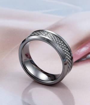 Beveled White Carbon Fiber Inlay Tungsten Ring