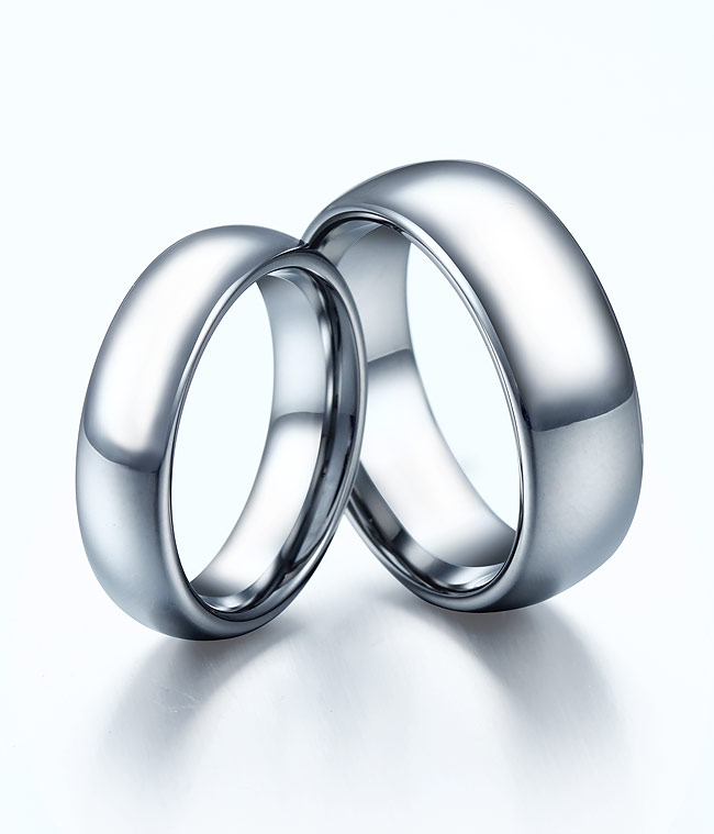Classic Domed Tungsten Carbide Rings Matching Set by ...