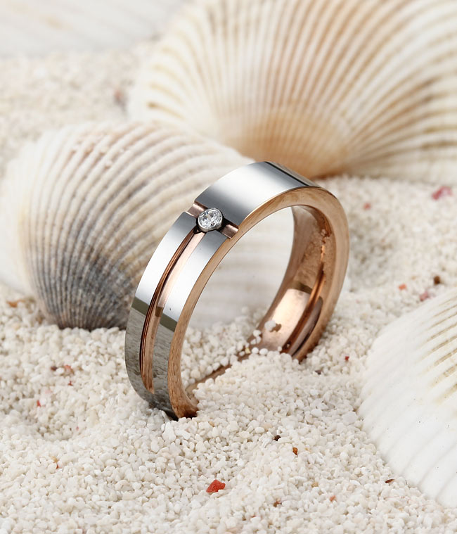 Rose Gold Plated+Grooved CZ Tungsten Wedding Ring By