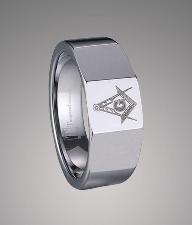 Tungsten Carbide Freemason Ring