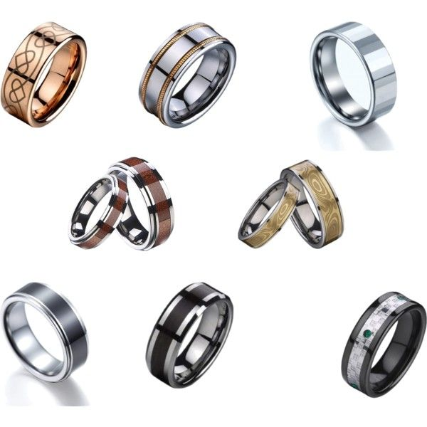 Tungsten Black Rings With Diamonds