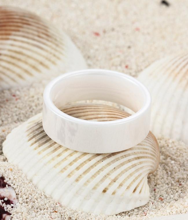polished shiny hi tech white ceramic wedding band by