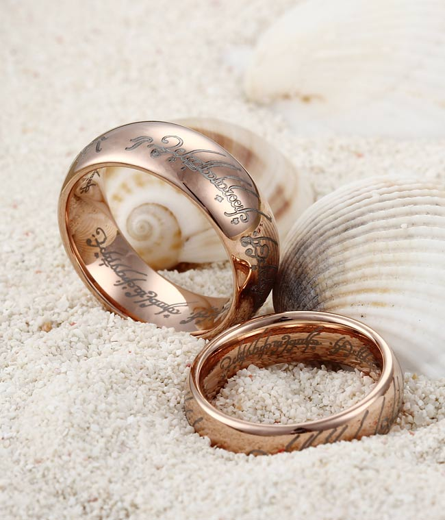 rose gold plating tungsten the lord of the rings by tungstenrepublic - Lord Of The Rings Wedding Band