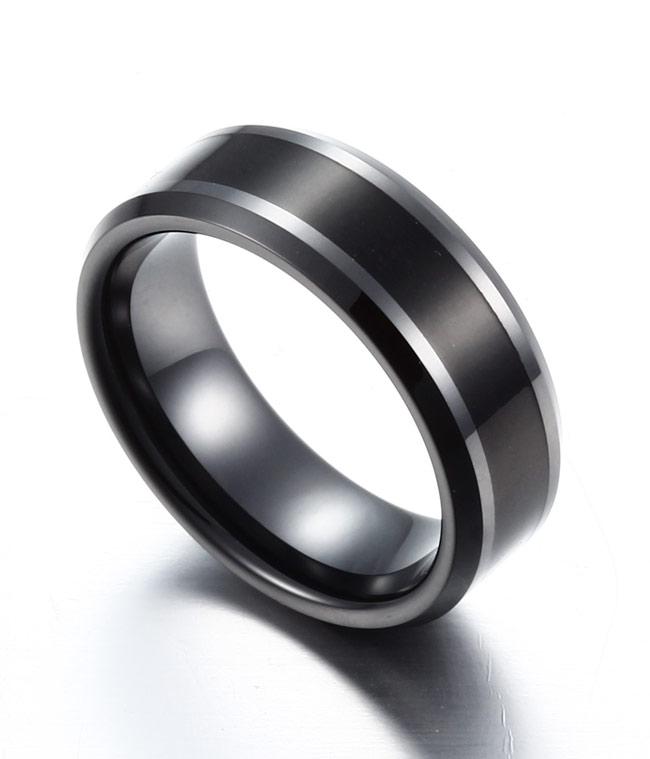 8MM Black Color Wood Inlay Black Ceramic Ring by TungstenRepublic on