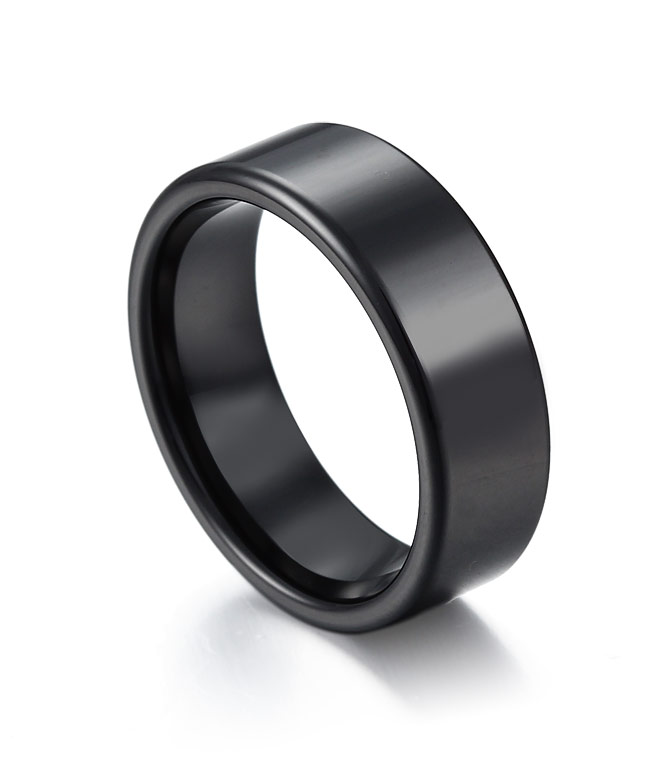 classic high polish black ceramic wedding band by tungstenrepublic - Ceramic Wedding Rings