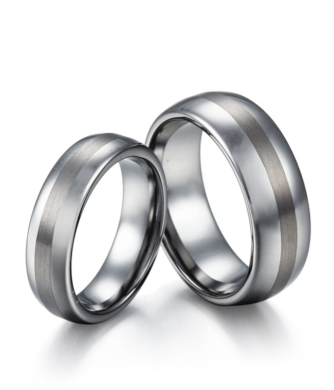 Domed Tungsten Rings with Brush Centre Stripe by ...