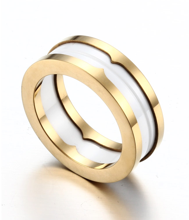 gold plated tungsten white ceramic wedding band by