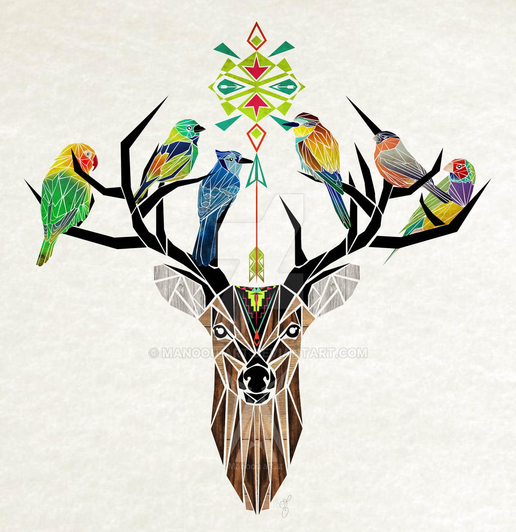 deer birds aztec by MaNoU56