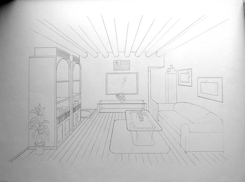 One point perspective by rhino0 on deviantart - One point perspective drawing living room ...