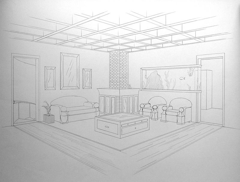 2 point perspective ms kirby 39 s class noticeboard - How to draw a living room in perspective ...