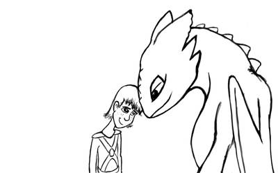 Buddies - Toothless+Hiccup WiP