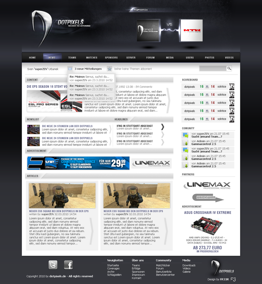 dotpixels de   new clandesign by fr33r d314pwb Web Interface Showcase: Effective & Clear Web Designs