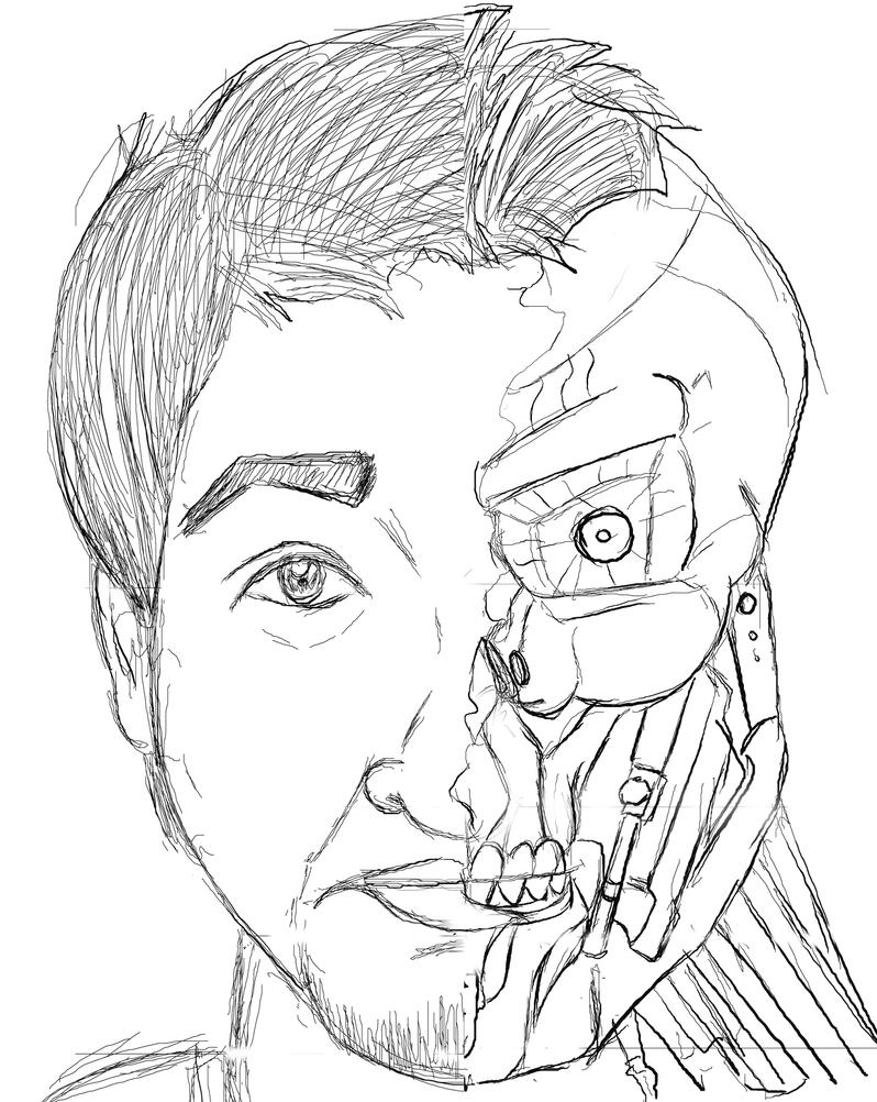 Terminator Drawings Terminator robot by alifazal33Robot Face Drawing