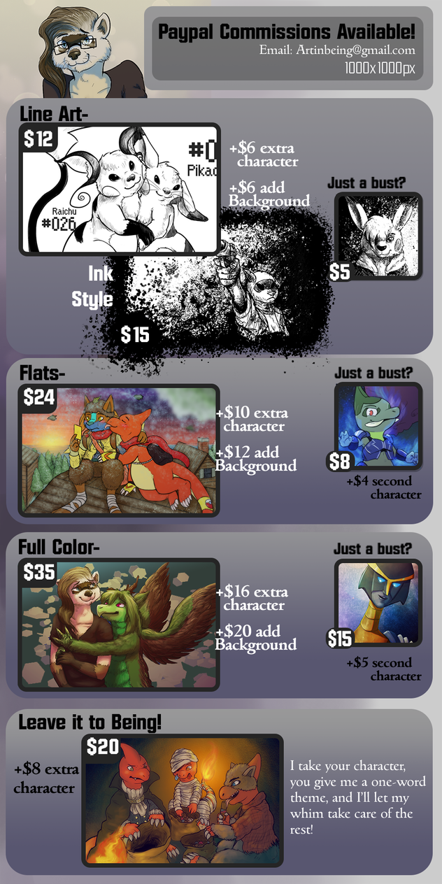 2015 Commission Prices by the-b3ing