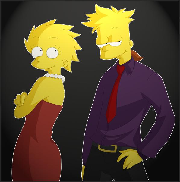 Adult Lisa, Bart by Matsuri1128